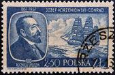 POLAND - CIRCA 1957: A stamp printed in Poland shows Josef Korzeniowski Conrad, circa 1957 — Foto Stock