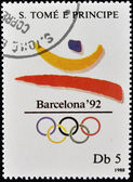 SAO TOME - CIRCA 1988: A stamp printed in Sao Tome shows Emblem of the 1992 Olympic Games in Barcelona, circa 1988 — Stock Photo
