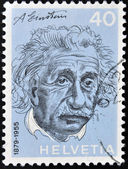 SWITZERLAND - CIRCA 1972: a stamp printed in the Switzerland shows Albert Einstein, Theoretical Physicist, Theory of General Relativity, circa 1972 — Stock Photo