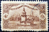 TURKEY - CIRCA 1918: A stamp printed in Turkey shows old view of Istanbul, circa 1918 — Stock Photo