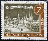 GERMANY - CIRCA 1963: a stamp printed in Germany shows View of Old Berlin, 1650, circa 1963 — Stock Photo