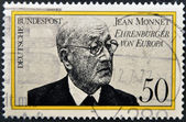 GERMANY- CIRCA 1977: stamp printed in Germany shows Jean Monnet, French proponent of unification of Europe, circa 1977. — Stock Photo