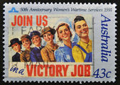 AUSTRALIA - CIRCA 1991: A stamp printed in Australia dedicated 50th anniversary women´s wartime services, join us in victoria job, circa 1991 — Stock Photo