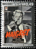 BELGIUM - CIRCA 2003: A stamp printed in Belgium shows Jules Maigret, Inspector fictional French police created by Georges Simenon, circa 2003 — Stock Photo