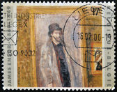 """BELGIUM - CIRCA 1999: A stamp printed in Belgium shows the work """"My Favorite Room"""" by James Ensor, circa 1999 — Stock Photo"""