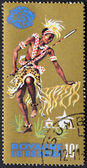 BURUNDI - CIRCA 1965 : Stamp printed in Burundi show Tribal Dancers and musician, circa 1965 — Stock Photo