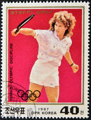 NORTH KOREA - CIRCA 1987: A stamp printed in North Korea shows Steffi Graf, circa 1987 — Stock Photo
