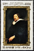 NORTH KOREA - CIRCA 1977: A stamp printed in DPR Korea shows self-portrait by Peter Paul Rubens, circa 1977 — Stok fotoğraf
