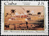 CUBA - CIRCA 1995: A stamp printed in cuba dedicated to 400 anniversary of the sugar industry, circa 1995 — Stock Photo