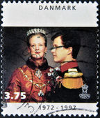 DENMARK - CIRCA 1997: A stamp printed in Denmark shows Queen Margrethe II, circa 1997 — Stock Photo