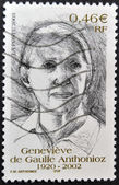 FRANCE - CIRCA 2002: A stamp printed in France shows Genevieve de Gaulle Anthonioz, circa 2002 — Stock Photo