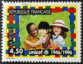 FRANCE - CIRCA 1996: A stamp printed in France dedicated to UNICEF, circa 1996 — Zdjęcie stockowe