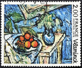 """FRANCE - CIRCA 1976: A stamp printed in France shows the play """"Still Life"""" painted by Maurice De Vlaminck, circa 1976 — Stock Photo"""