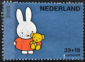 HOLLAND - CIRCA 2005: A stamp printed in the Netherlands shows Miffy the Bunny, by Bruna, circa 2005 — Stock Photo