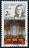 HUNGARY - CIRCA 1985: A stamp printed in Hungary, shows Johann Sebastian Bach and Thomas Church organ, circa 1985 — Stock Photo
