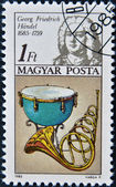 HUNGARY - CIRCA 1985: stamp printed in Hungary, shows Frederic Handel, kettle drum, horn, circa 1985 — Stock Photo