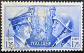 ITALY - CIRCA 1941: mail stamp printed in Italy showing Hitler and Mussolini face to face, circa 1941 — Stock Photo