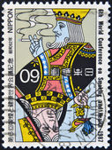 JAPAN - CIRCA 1987: A stamp printed in Japan dedicated to 6th world confrence on smoking and health, circa 1987 — 图库照片