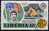 LIBERIA - CIRCA 1972: A stamp printed in Liberia shows Mark Spitz, circa 1972 — Stock Photo