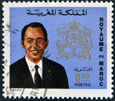 MOROCCO - CIRCA 1973 stamp printed in Morocco, shows King Hassan II, circa 1973 — Stock Photo