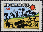 MOZAMBIQUE - CIRCA 1978: A stamp printed in Mozambique dedicated to agriculture, circa 1978 — Stock Photo