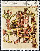 PANAMA - CIRCA 1968: A stamp printed in Panama shows image from the Codex Nuttall, circa 1968 — Stock Photo