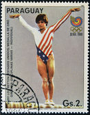 PARAGUAY - CIRCA 1988: A stamp printed in Paraguay shows Mary Lou Retton, circa 1988 — Stock Photo