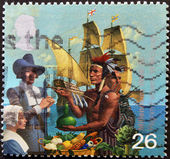 UNITED KINGDOM - CIRCA 1999: A stamp printed in United Kingdom dedicated to Millennium, Pilgrim Fathers, circa 1999 — Stock Photo