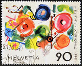 "SWITZERLAND - CIRCA 1988: A stamp printed in Switzerland shows the play ""meta"" by Tinguely, circa 1988 — Foto de Stock"
