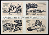 UNITED STATES OF AMERICA - CIRCA 1972: American postal dedicated to tourism year of the Americas, 1972 — Stock Photo