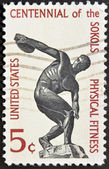 UNITED STATES OF AMERICA - CIRCA 1965: a stamp printed in the United States of America shows Discus thrower, centenary of founding Sokol, athletic organization in America, circa 1965 — Stock Photo