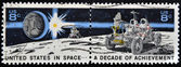 UNITED STATES OF AMERICA - CIRCA 1971: A stamp printed in USA dedicated to United States in Space, A decade of achievement, circa 1971 — Stock Photo