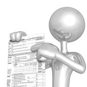 3D Character With Tax Form — Stok fotoğraf