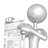 3d personage met belastingformulier — Stockfoto
