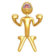 Screaming Mad Gold Guy — Stock Photo