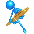 Writer With Gold Pen — Stock Photo