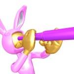 Easter Bunny Looking Through A Telescope — Stock Photo