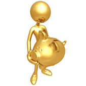 Holding Golden Piggy Bank — Stockfoto