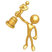 Award - puppet with a gold figurine — Stock Photo