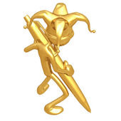 Jester With Gold Pen — Stock Photo