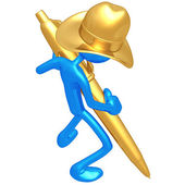 Cowboy With Gold Pen — Stock Photo