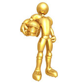 Gold Guy Football Player — Stock Photo