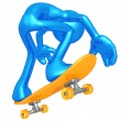 3D Character Skateboarding — Stock Photo