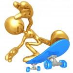 Gold Guy Skateboarding — Stock Photo
