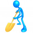 3D Character Digging With A Shovel — Stock Photo #8038235