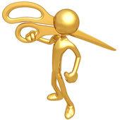 Holding Golden Scissors — Stock Photo