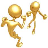Gold Guys Fighting — Stock Photo