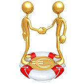 Gold Guys Handshake Lifebuoy Euro Concept — Stock Photo
