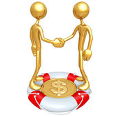 Gold Guys Handshake Lifebuoy Dollar Concept — Stock Photo