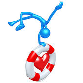 3D Character With Lifebuoy Heart — Stock Photo